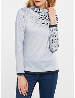 Feminino Camiseta Happy-Hour / Casual Simples Outono / Inverno,Leopardo Cinza Poliéster Gola Alta Manga Longa Opaca