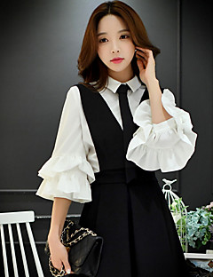 DABUWAWA Women's Going out / Formal / Work Vintage / Simple / SophisticatedShirt,Solid Shirt Collar ¾ Sleeve