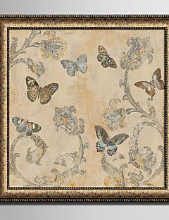 Blumenmuster/Botanisch Tier Gerahmtes Leinenbild Gerahmtes Set Wandkunst,PVC Stoff Schwarz Kein Passpartout Mit Feld For Haus Dekoration