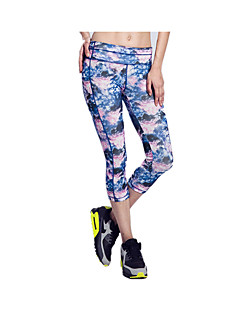 Mulheres Sem Mangas Corrida 3/4 calças justas Leggings Respirável Secagem Rápida Reduz a Irritação Tecido Ultra LevePrimavera Verão