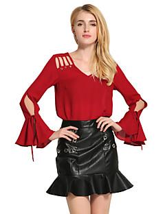 Damen Solide Sexy Niedlich Lässig/Alltäglich Bluse,V-Ausschnitt Frühling Herbst Langarm Rot Weiß Schwarz Baumwolle Polyester Mittel