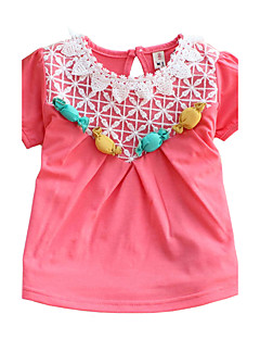 Uitgaan Casual/Dagelijks Patchwork Katoen Zomer Korte mouw Meisje T-shirt Normaal