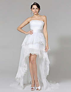2017 Lanting Bride® Ball Gown Wedding Dress - Chic & Modern Little White Dresses Asymmetrical Strapless Lace / Organza withAppliques / Draped