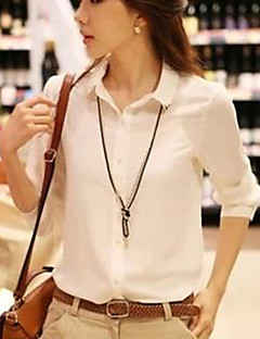 Women's Formal Simple All Seasons Blouse,Solid Shirt Collar Long Sleeve Red / White Thin