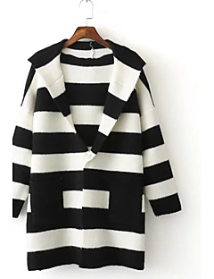 Women's Going out Casual/Daily Simple Street chic Regular Cardigan,Striped Color Block Blue Pink Black Gray Hooded Long SleeveAcrylic