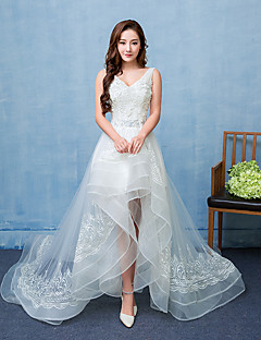 Ball Gown Wedding Dress Asymmetrical V-neck Lace Satin Tulle with Lace