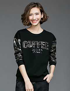 Women's Going out Casual/Daily Boho Spring Fall T-shirt,Patchwork Letter Round Neck Long Sleeve Black Polyester Opaque Medium