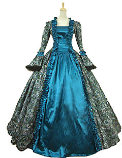 Steampunk®Victorian Satin Floral Print Period Dress Ball Gown Reenactment Costume