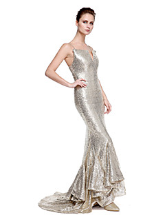 TS Couture Formal Evening Dress - Sparkle & Shine Trumpet / Mermaid Spaghetti Straps Sweep / Brush Train Sequined with Sequins