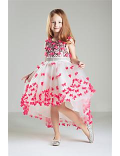 נסיכה באורך הקרסול שמלה לנערת הפרחים  - כותנה תחרה ללא שרוולים עם תכשיטים עם אפליקציות חרוזים ריקמה