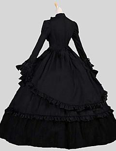 Jednodílné/Šaty Gothic Lolita Viktoria Tarzı Cosplay Lolita šaty Jednobarevné Dlouhý rukáv Po kotníky Šaty Pro Bavlna