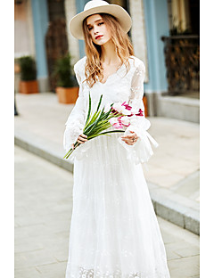 Dame Simpel I-byen-tøj Ferie Løstsiddende Kjole Ensfarvet,V-hals Midi Langærmet Hvid Polyester Forår Alm. taljede Uelastisk Medium