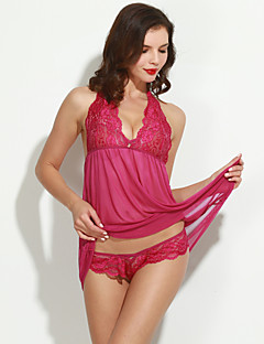 Damen Hemden & Kleider Nachtwäsche einfarbig Polyester Lila