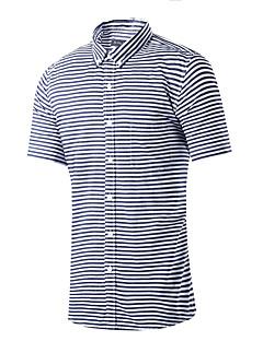 男性 カジュアル/普段着 夏 シャツ,シンプル シャツカラー ストライプ ブルー グレイ コットン 半袖 ミディアム