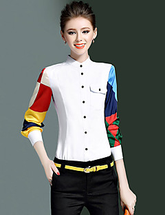 Women's Casual/Daily Simple Spring Fall Shirt,Color Block Crew Neck Long Sleeve White Polyester Medium