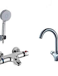 現代風 バスタブとシャワー サーモスタットタイプ ハンドシャワーは含まれている with  セラミックバルブ 二つのハンドル二つの穴 for  クロム , 浴槽用水栓