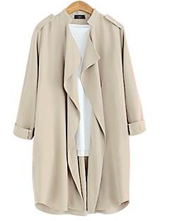 Casual/hétköznapi Szexi Őszi-Női Kabát,Egyszínű Állógallér Hosszú ujj Kék / Sárga Pamut Közepes vastagságú