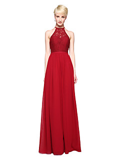 LAN TING BRIDE Floor-length Jewel Bridesmaid Dress - Elegant Sleeveless Chiffon Lace