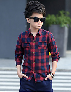 Boy Casual/Daily Plaid Shirt,Cotton Rayon Spring Long Sleeve