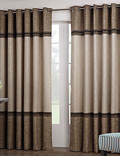 2パネル ウィンドウトリートメント 新古典主義 , 純色 リビングルーム ポリエステル 材料 カーテンドレープ ホームデコレーション For 窓