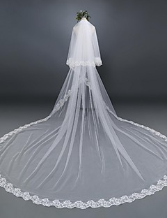 Wedding Veil Two-tier Cathedral Veils Lace Applique Edge Tulle / Lace
