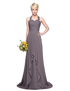 Lanting Bride® Tot de grond Chiffon Elegant Bruidsmeisjesjurk - A-lijn Halter met Plooien