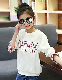Mädchen T-Shirt Ausgehen Lässig/Alltäglich Urlaub Patchwork Baumwolle Frühling Herbst Lange Ärmel Normal