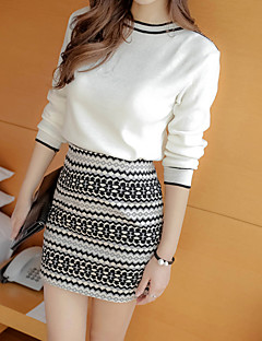 Women's Going out Casual/Daily Work Vintage Simple Sophisticated Spring Fall T-shirt Skirt Suits,Geometric Round Neck Long SleeveCotton