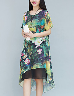 Women's Casual/Daily Street chic Chinoiserie Loose Dress Print Asymmetrical False Two Short Sleeve Cotton /Linen Blue /Green