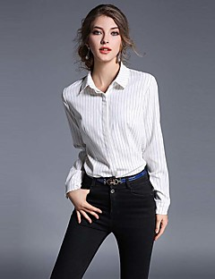 Women's Work Simple Summer Shirt,Striped Shirt Collar Long Sleeve White Black Polyester Thin