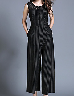 Women's Wide Leg Jumpsuits,Casual/Daily Work Sexy Street chic Striped Lace Round Neck Sleeveless High Rise Polyester Inelastic Spring
