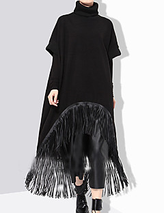 Women's Going out Casual/Daily Holiday Sexy Vintage Simple Loose Dress,Solid Tassel Round Neck Midi Long Sleeve Cotton Polyester Black