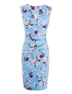 Attillato Fodero Vestito Da donna-Per uscire Casual Vacanze Sensuale Stoffe orientali Fantasia floreale A V Al ginocchio Senza maniche Blu