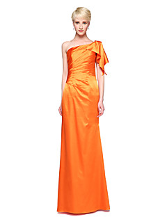 Sheath / Column One Shoulder Floor Length Stretch Satin Bridesmaid Dress with Pleats by LAN TING BRIDE®