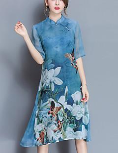 אביב משי כחול סגול אורך חצי שרוול עד הברך עומד פרחוני סגנון רחוב יום יומי\קז'ואל שמלה נדן נשים,גיזרה בינונית (אמצע) מיקרו-אלסטיבינוני