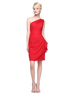 Lanting Bride® באורך  הברך שיפון אלגנטי שמלה לשושבינה  - מעטפת \ עמוד כתפיה אחת עם קפלים
