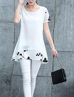 Feminino Camiseta Para Noite Casual Trabalho Sensual Moda de Rua SofisticadoSólido Branco Preto Outros Decote Redondo Manga Curta Média