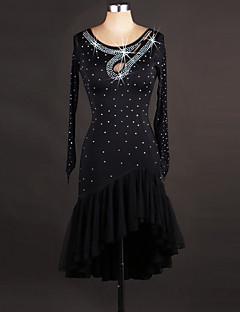 Latin Dance Dresses Women's Performance Spandex Organza Crystals/Rhinestones Embroidery 1 Piece Long Sleeve Dress