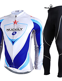 Nuckily Cycling Jersey with Tights Men's Long Sleeve Bike Clothing Suits Ultraviolet Resistant Breathable Reflective Strips Comfortable
