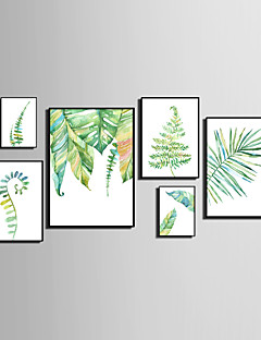 Absztrakt Virágos / Botanikus Životinja Bekeretezett vászon Bekeretezett szett Wall Art,PVC Anyag Fekete Háttéranyag nélkül a Frame For
