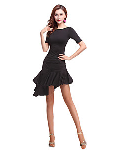 Latin Dance Women's Fashion Irregular Performance Spandex Ruffles 2 Pieces Outfits