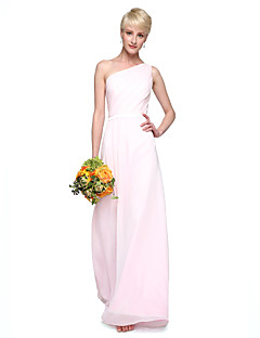 2017 Lanting Bride® Floor-length Chiffon Elegant Bridesmaid Dress - Sheath / Column One Shoulder with Sash / Ribbon Pleats