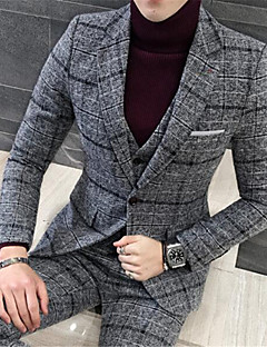 Men's Plus Size Casual/Daily Simple Winter Suits,Color Block Notch Lapel Long Sleeve Blue Black Gray Yellow Cotton Polyester