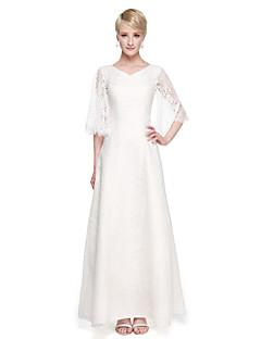 2017 Lanting Bride® Ankle-length Lace Elegant Bridesmaid Dress - A-line V-neck with Appliques Pleats