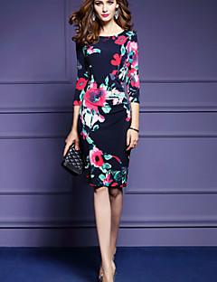 Damen Bodycon Kleid-Ausgehen Retro Blumen Rundhalsausschnitt Knielang ¾-Arm Blau Polyester Frühling Hohe Hüfthöhe Mikro-elastisch Mittel