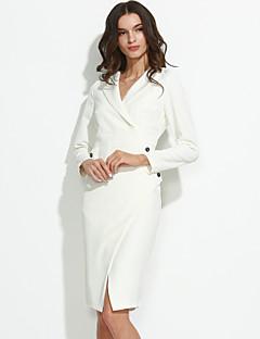 Dámské Sexy Práce Pouzdro Šaty Jednobarevné,Dlouhý rukáv Spadlý nabíraný výstřih Délka ke kolenům Bílá Bavlna Jaro Mid RiseLehce