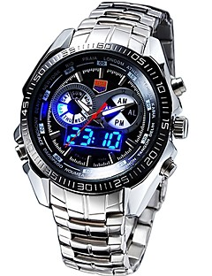 TVG KM-468 Men's Luxury Strap Watch Analog-digital Multifunctional LED Noctilucent Two Time Zones Calendar 50M Water Resistant Sport Wrist Watch