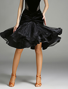 Latin Dance Tutus & Skirts Women's Performance Tulle Velvet Pleated 1 Piece Natural Skirt