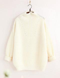 Dames Casual/Dagelijks Eenvoudig Schattig Normaal Pullover Effen-Rood Wit Opstaand Lange mouw Polyester Winter Medium Micro-elastisch