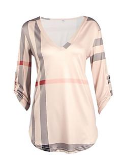 Polyester Blå Hvit Beige Sort Medium Langermet,V-hals Skjorte Ruter Sommer Gatemote Plusstørrelser Dame